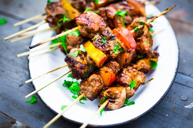 jerk chicken and peach skewers